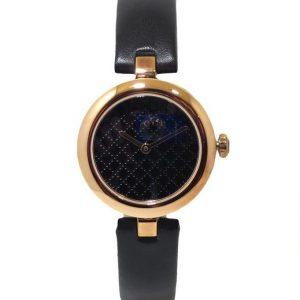 Reloj GUCCI Diamantissima 27mm Acero PVD rosa correa piel YA141501 negro