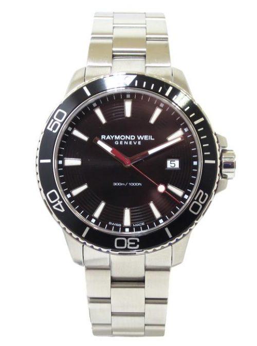 Reloj Raymond Weil Tango 42mm Diver 300m esfera negra bisel negro 8260-ST1-20001