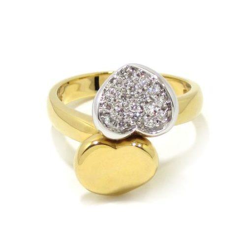 Anillo corazones con diamantes oro amarillo