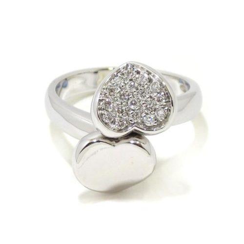Anillo corazones con diamantes oro blanco