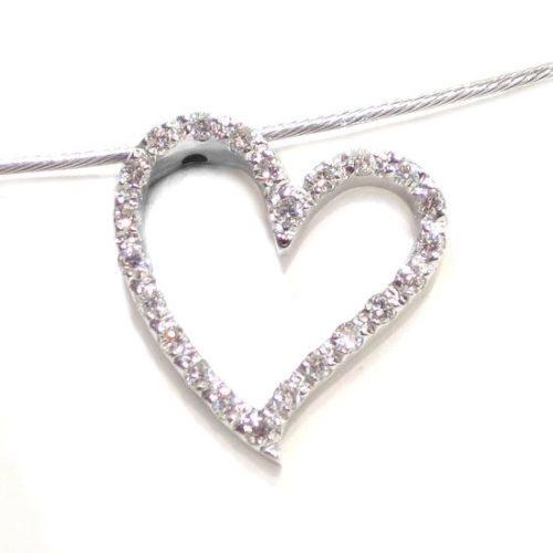 Collar corazon diamantes colgante oro blanco