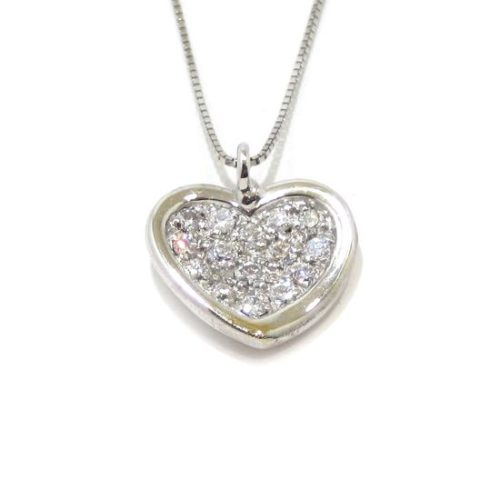 Collar corazon diamantes colgante oro blanco