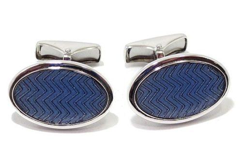 Gemelos esmalte azul tweed 74136 plata