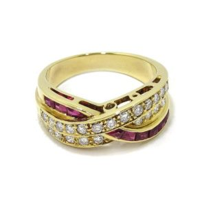 Anillo diamantes rubis triple oro amarillo