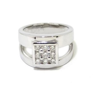 Anillo oro blanco cuadrado diamantes