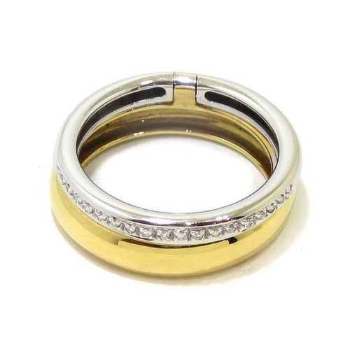 Anillo diamantes doble oro blanco/amarillo