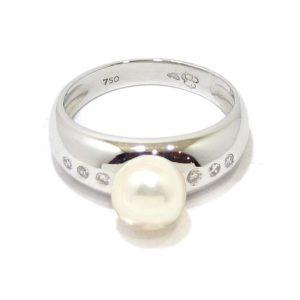 Anillo perla diamantes oro blanco