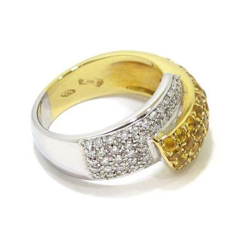 Anillo diamantes zafiros amarillos oro blanco/amarillo