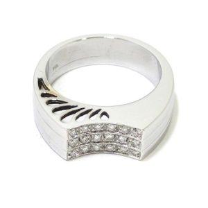 Anillo 18 diamantes oro blanco