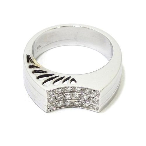 Anillo 18 diamantes oro blanco