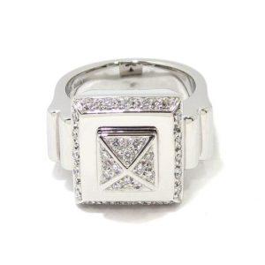 Anillo diamantes cuadrado piramide oro blanco