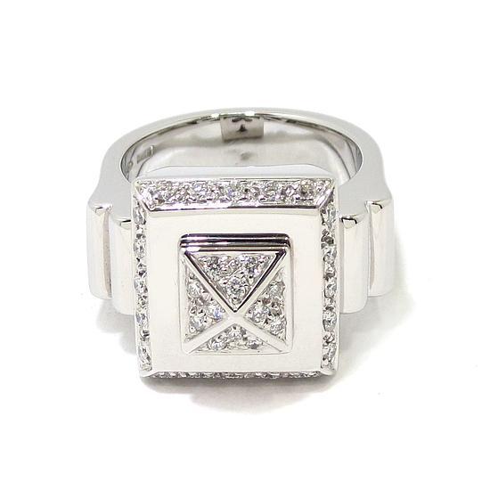 4c5259a85669 Anillo diamantes cuadrado piramide oro blanco - Bueno Joyeros