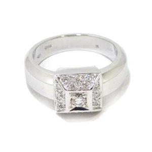 Anillo diamantes cuadrado oro blanco