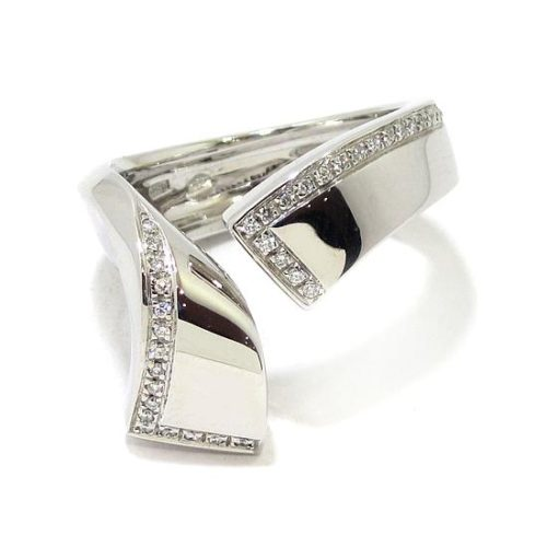Anillo diamantes oro blanco curvado