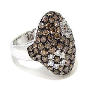 Anillo diamantes brown oval oro blanco