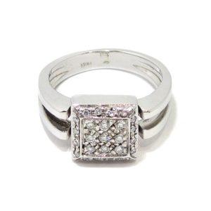 Anillo 25 diamantes cuadrado oro blanco