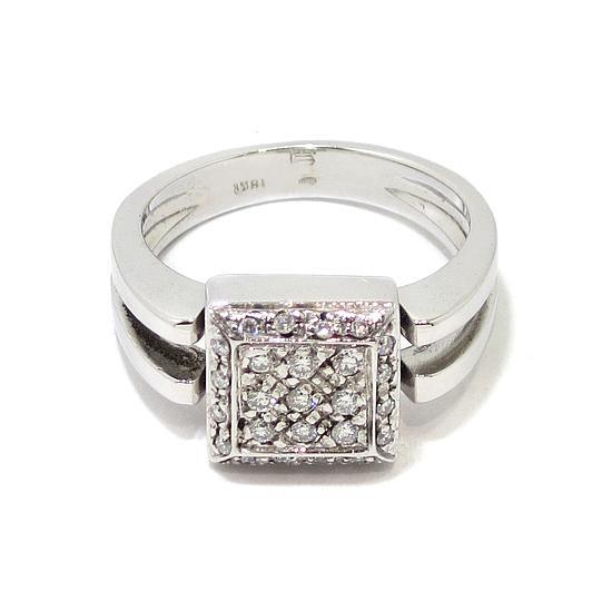 91f841cafe2a Anillo 25 diamantes cuadrado oro blanco - Bueno Joyeros