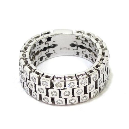 Anillo diamantes flexible oro blanco