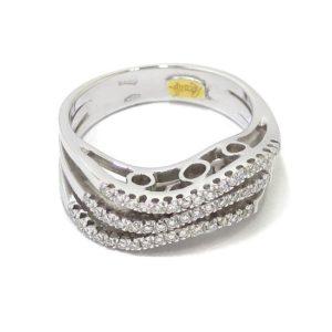 Anillo triple diamantes oro blanco
