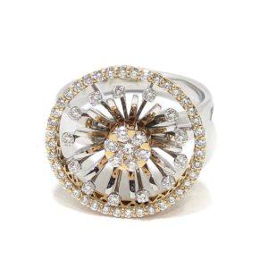 Anillo diamantes oro blanco/rosa circulo