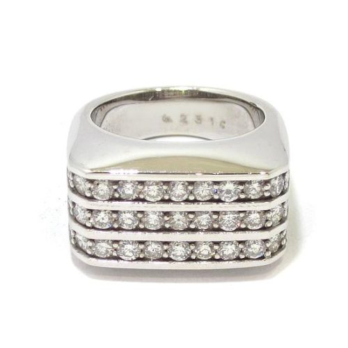 Anillo diamantes rectangular oro blanco