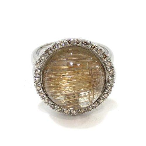 Anillo diamantes cuarzo rutilado oro blanco