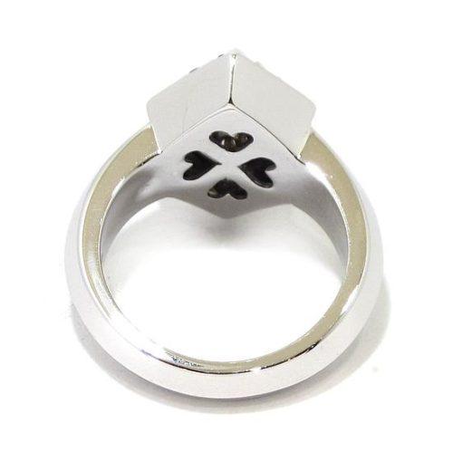 Anillo diamantes zafiros oro blanco cuadrado