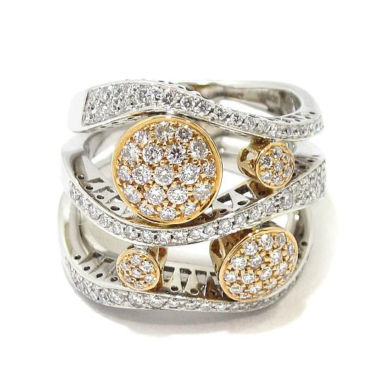 2e5fedb4a3f4 Anillo diamantes oro blanco rosa circulos - Bueno Joyeros