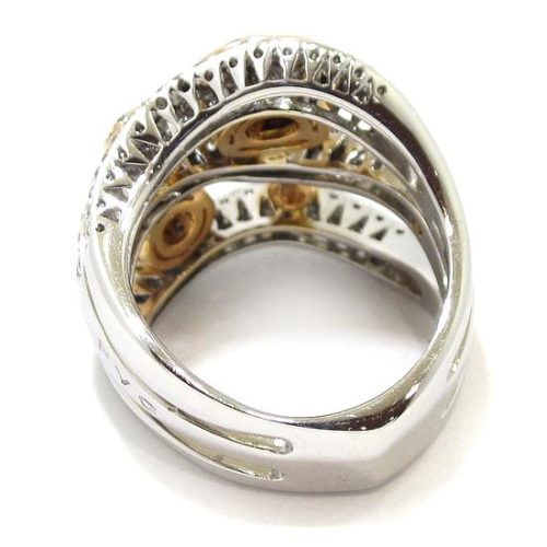 Anillo diamantes oro blanco/rosa circulos