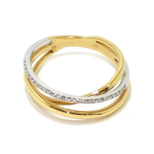 Anillo diamantes triple oro blanco/rosa