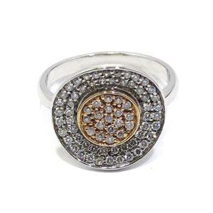 Anillo oro blanco con diamantes en pavé