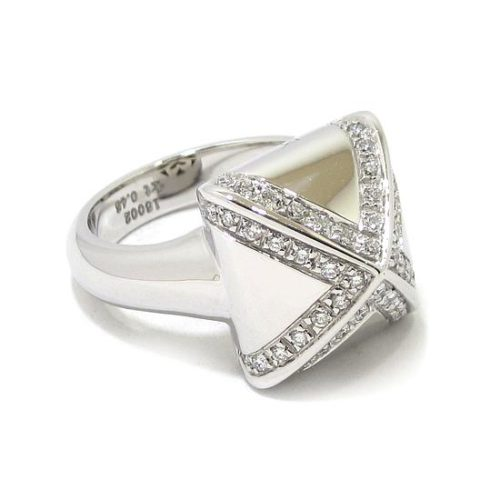 Anillo diamantes cuadrado piramide oro