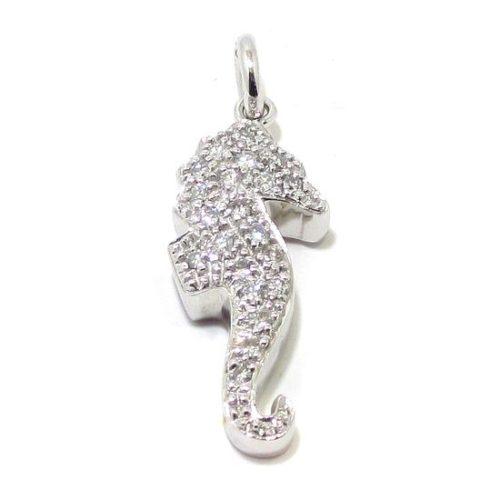 Colgante caballito mar diamantes oro blanco