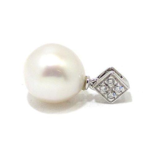 Colgante perla diamantes oro blanco