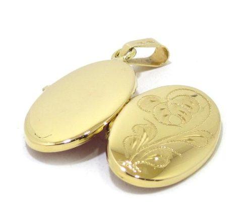 Colgante portarretratos oval oro amarillo