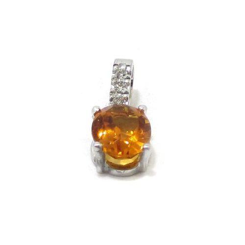 Colgante topacio imperial diamantes oro