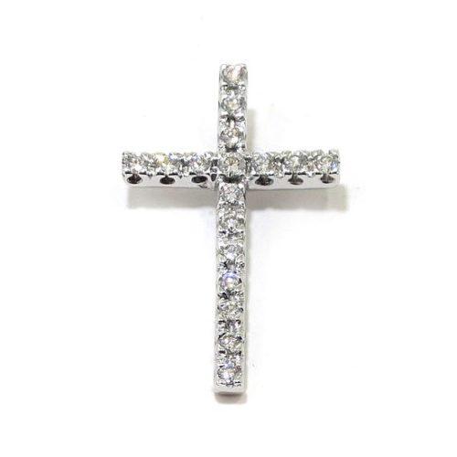 Cruz colgante diamantes larga oro