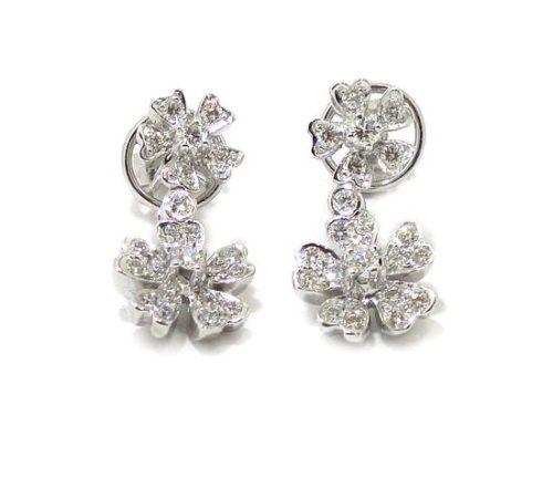 Pendientes diamantes flores oro blanco