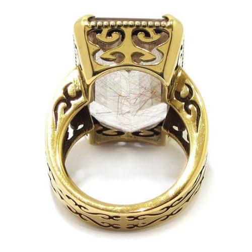 Anillo Cuarzo rutilo plata chapada