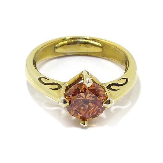 1916889aef6b Anillo circonita ambar de plata dorada - Comprar en Bueno Joyeros
