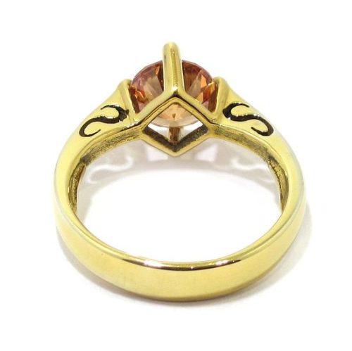 Anillo circonita ambar de plata dorada