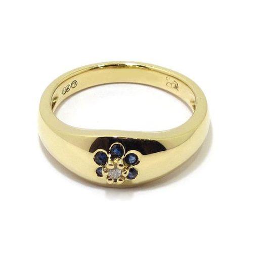 Anillo diamante zafiros oro amarillo