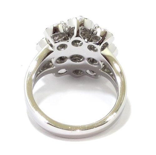 Anillo diamantes 9 orlas oro blanco