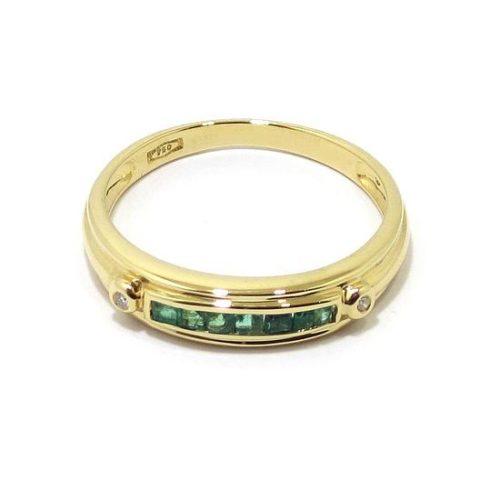 Anillo diamantes 7 esmeraldas oro amarillo
