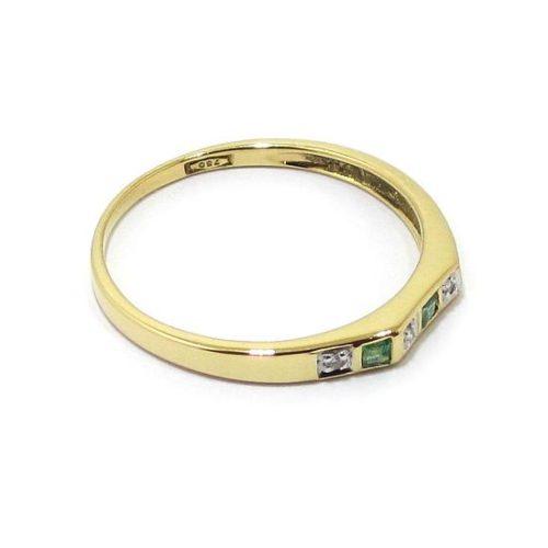 Anillo diamantes esmeraldas oro amarillo