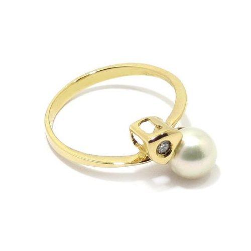 Anillo perla diamante oro amarillo