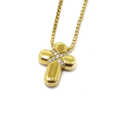 Collar cruz diamantes colgante oro amarillo