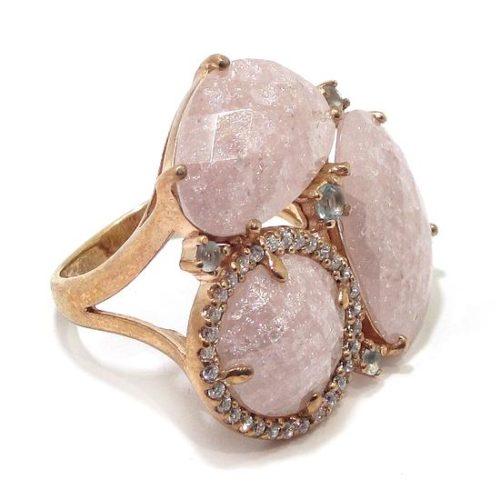 Anillo de plata cuarzo rosa