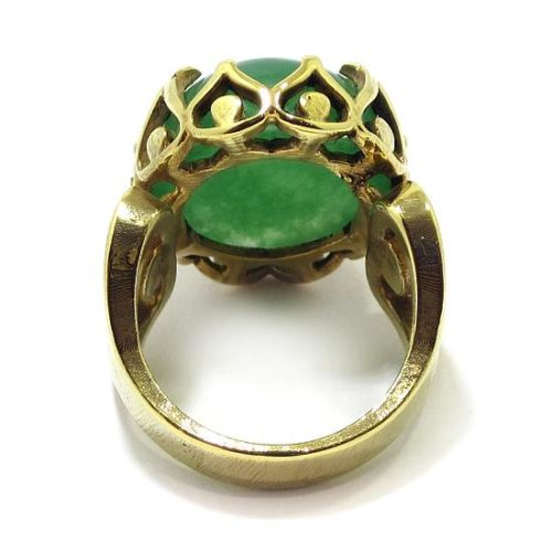 Anillo de plata Jade Nefrita verde intenso