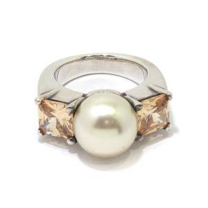 Anillo de plata perla circonitas